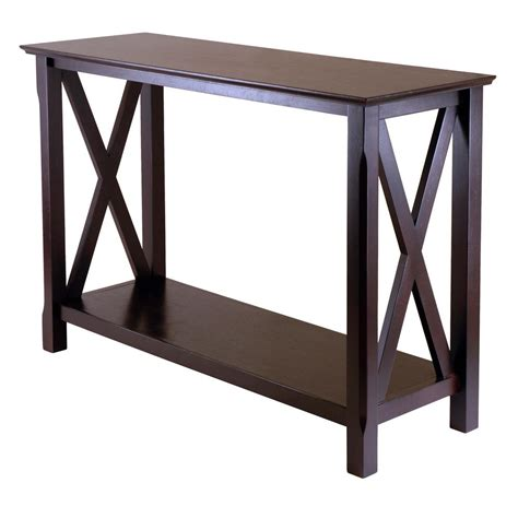 home depot console winsome wood xola cappuccino console table 40445 the