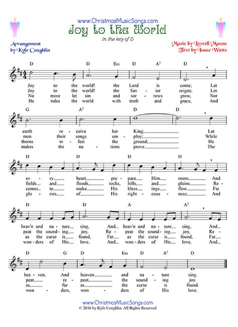 printable lyrics joy to the world joy to the world free sheet music