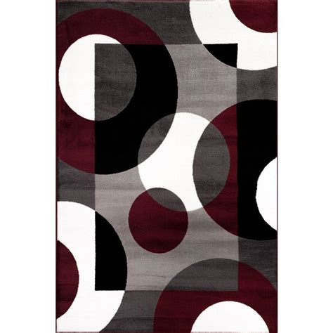 circle area rug world rug gallery modern circles burgundy 5 ft 3 in x 7 ft 3 in indoor area rug 100 burg 5 3