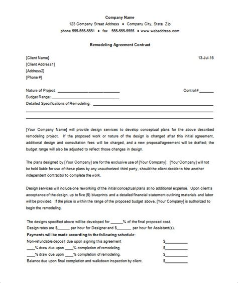 7 remodeling contract templates free word pdf format