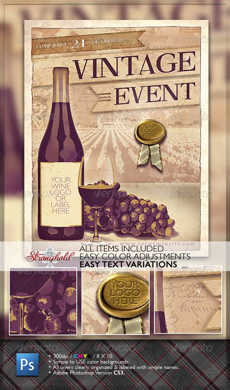 Vintage Wine Event Flyer By Getstronghold Graphicriver Wine Tasting Event Flyer Template Free