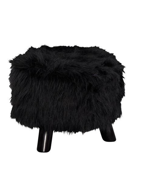 flokati ottoman flokati black fuzzy foot stool ottoman