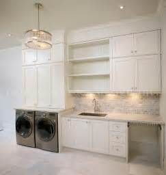 laundry room with gray mini brick backsplash