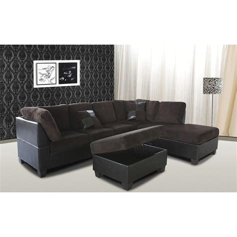 Chocolate Brown Sectional Sofa by Venetian Worldwide Chocolate Brown Sectional Sofa W