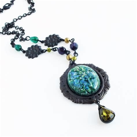 green opal necklace green opal necklace large green glass pendant necklace