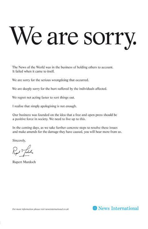 Apology Letter For Hotel Maintenance Rupert Murdoch S Ad Apologizing For Phone Hacking We Are Sorry Photo Huffpost