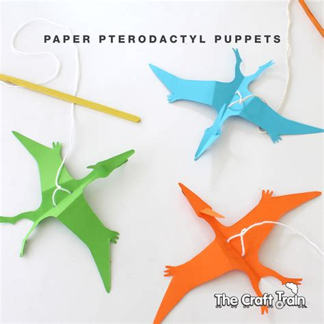 How To Make A Paper Flying Dinosaur - paper pterodactyl puppet the craft