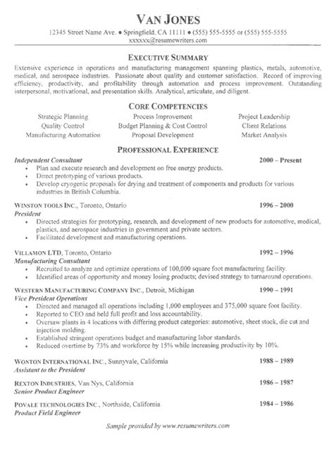 Resume Exles For Managers by Project Manager Resume Sle Project Management Exle Resumes