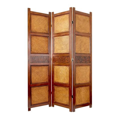 Indoor Privacy Screen Living Room Furniture Shop Furniture Peiking 3 Panel Brown Rattan