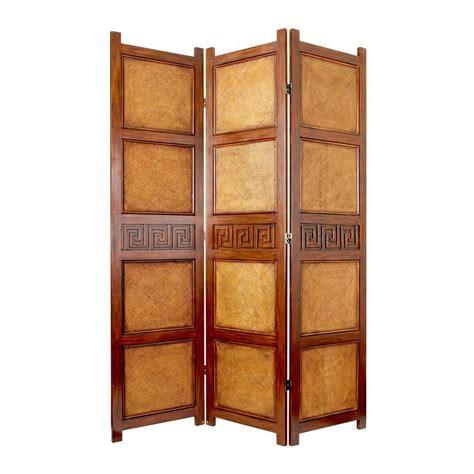 Shop Oriental Furniture Peiking 3 Panel Brown Rattan Indoor Privacy Screen Living Room Furniture