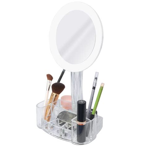 lighted 7x magnifying makeup mirror with cosmetic organizer