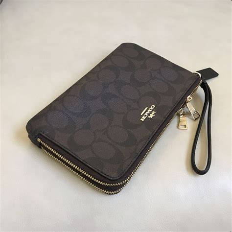 Coach Wallet For By Bagladies new coach brown black signature zip pvc wallet