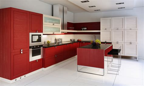 red kitchen white cabinets kitchen inspiration