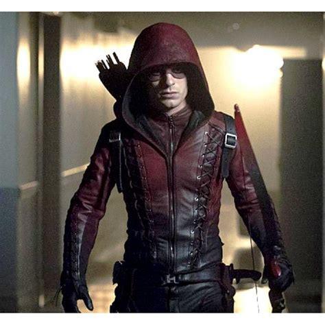 arsenal arrow speedy red arrow arsenal red hooded leathers jacket