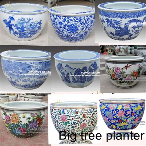 Where To Buy Large Planters Big Size Blue And White Ceramic Tree Planters Pots