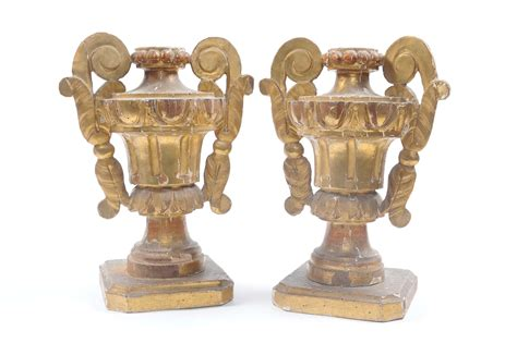 porta vasi in legno coppia di vasi porta palme in legno dorato antiquariato