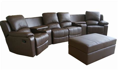 Reclining Theatre Seats by New Brown Theater Seating Recliner Chairs 4 Seats Ebay
