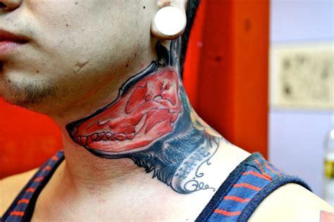 wolf neck tattoo 37 lovely wolf neck tattoos