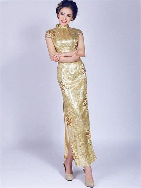 Dress Cheongsam 3001671409 C golden cheongsam qipao evening wedding dress qipao cheongsam