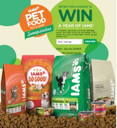 Free Enter To Win Sweepstakes - enter to win free iams pet food for a year sweepstakes 28 winners