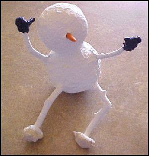 paper mache snowman christmas craft happy merry and be