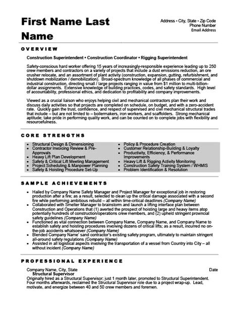 Structural Supervisor Resume by Structural Supervisor Resume Template Premium Resume