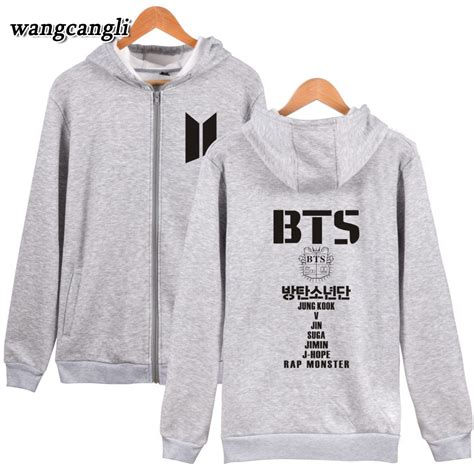 Jaket Hoodie Bts Jaket Bts Army Zipper Jaket Vasity Swe041217 Murah kpop bangtan hooded sweatshirts zipper korean bts coat winter womens hoodies pullover