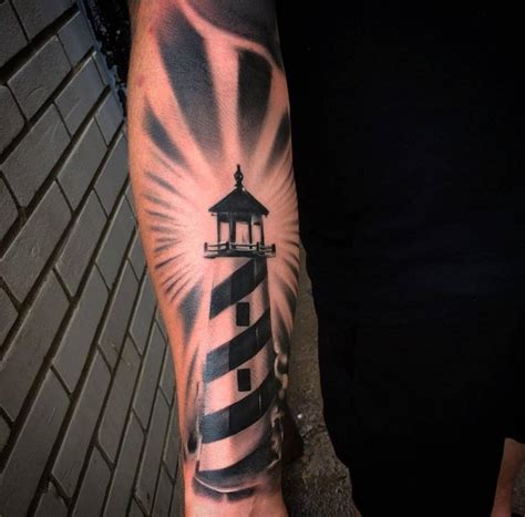 Black And Grey Lighthouse Tattoo | black and grey lighthouse tattoo on forearm