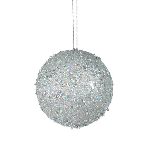 vickerman 170984 silver colored christmas tree ball ornament