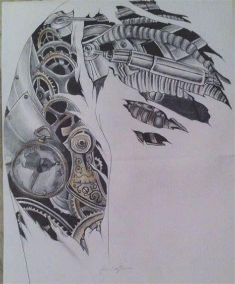 biomechanik steampunk tattoo design f 252 r schulter und