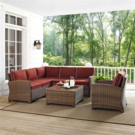 Destin Set destin 3 outdoor sectional chair and cocktail table set sangria american signature
