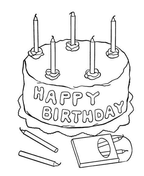 coloring happy birthday cakes candles pages five candles birthday cake coloring page for girls