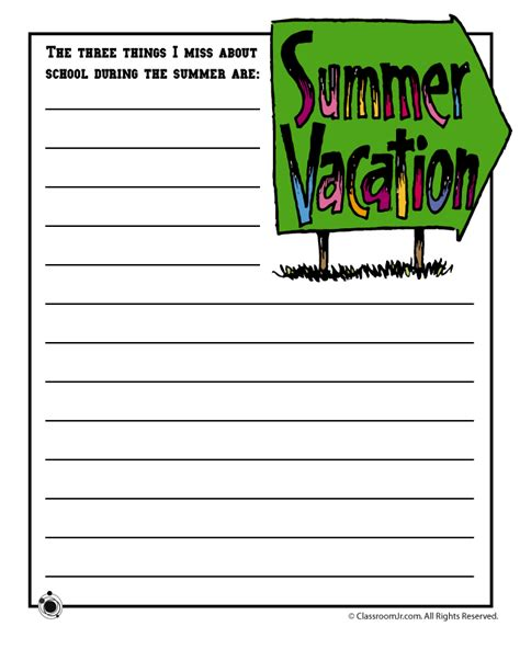 printable writing paper summer story starter quot the three things i miss about school