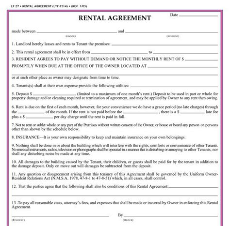 printable rental agreement template residential lease agreement template real estate forms
