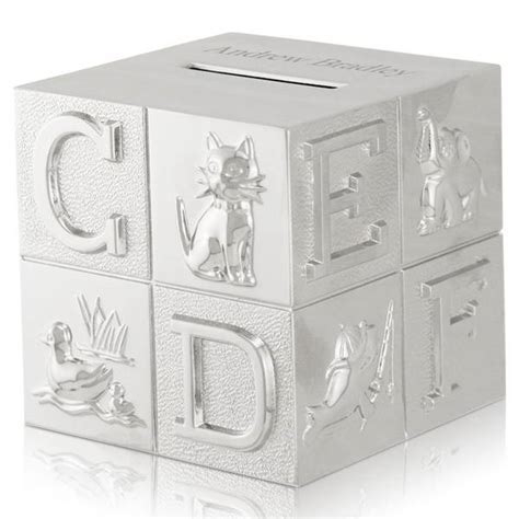 Silver ABC and Animal Baby Block Coin Bank   Engraved