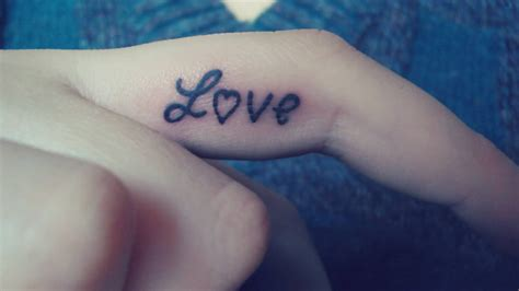 56 love tattoos on fingers
