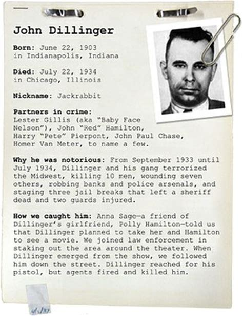 National Criminal History Record File Dillinger Fbi