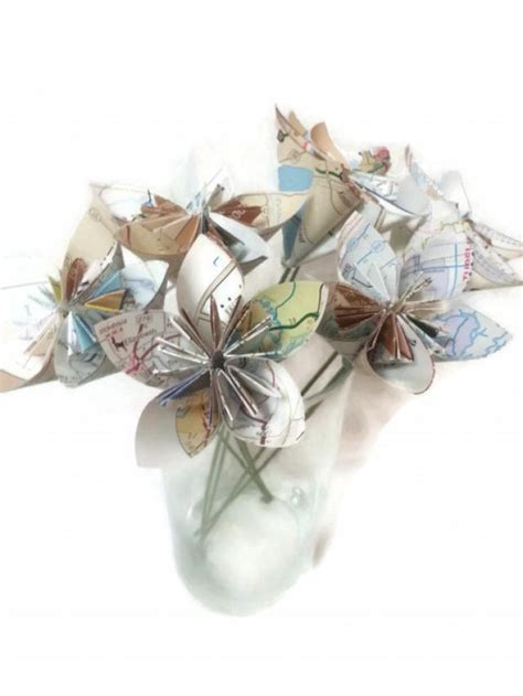 Origami Flowers With Stems - bouquet map paper ooak origami flowers with stems 2424565