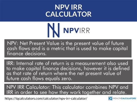 npv calculator irr and net present value calculator for excel