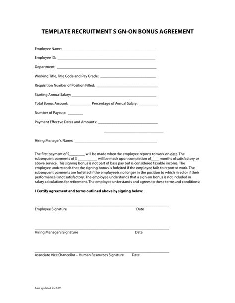bonus agreement template template recruitment sign on bonus agreement in word and