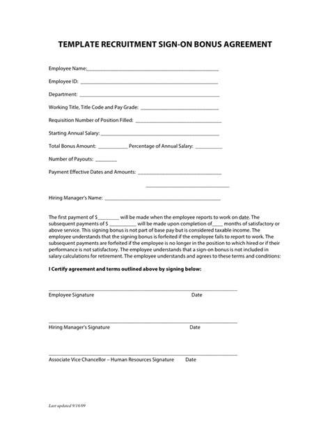 Sign On Bonus Agreement Template Sign On Bonus Agreement Images Agreement Letter Format