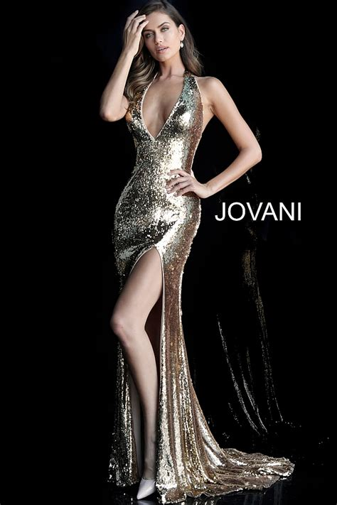 jovani 62360 gold fitted high slit low v neck sequin prom dress with