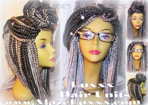 poeticjusticewigs com new gray silver handmade long box braid wig unit glue
