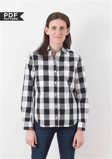 pattern button shirt digital archer button up shirt sewing pattern shop