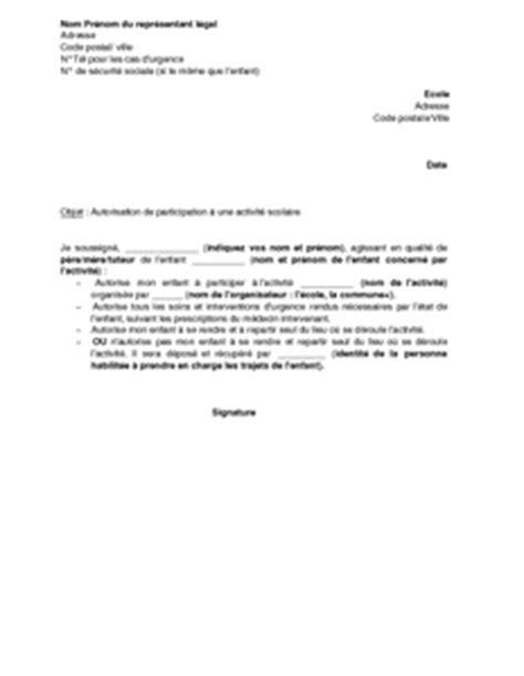Exemple De Lettre Autorisation Parentale Pour Voyager Exemple Lettre Voyage Scolaire