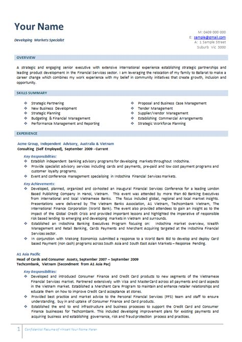 writing resume australia australian resume exle exles of resumes