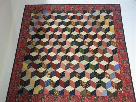 stitched quot tumbling block quot pattern quilt