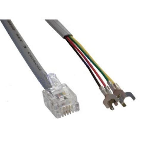 telephone flat modular patch cable rj 11 rj 14 to spade