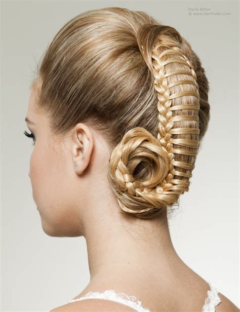www hair stlyes photos up style with woven hair resembling a ponytail captured