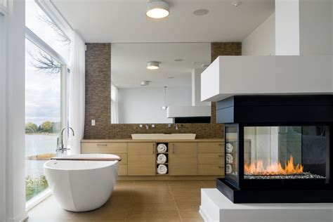 3 Sided Glass Fireplace by Great Master Bathrooms With Bumble S Design Diary